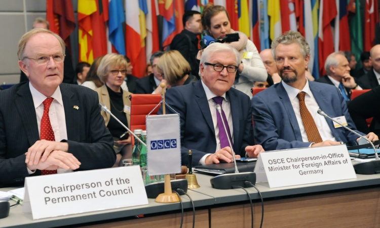 New OSCE Chairperson-in-Office, German Federal Minister for Foreign Affairs Frank-Walter Steinmeier (middle) at the first Permanent Council meeting of the year on January14, 2016. (photo: OSCE)