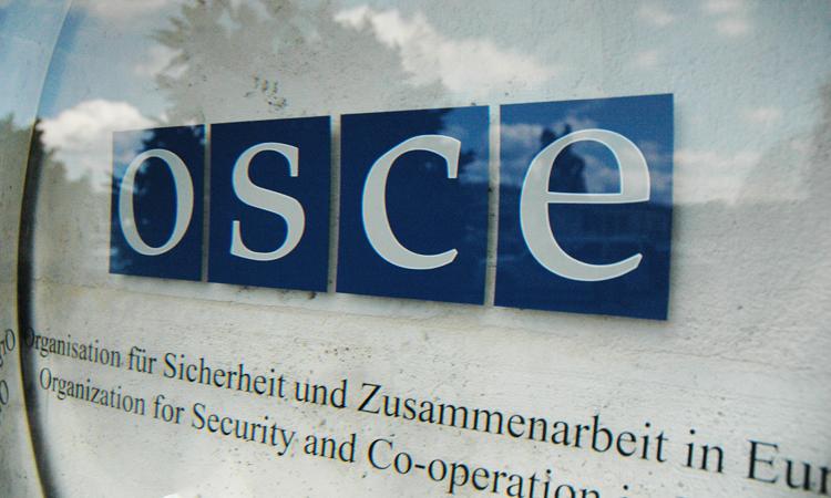 Эмблема ОБСЕ у входа в конгресс-центре Хофбург, Вена. (USOSCE/Colin Peters)