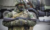 A Russia-backed separatist in Donetsk, eastern Ukraine, Oct. 29, 2015. (AP Photo/Max Black)