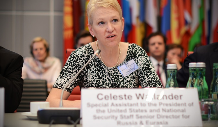 Celeste Wallander, Special Assistant to the President of the United States and National Security Staff Senior Director for Russia and Eurasia, speaking at the 2016 OSCE Annual Security Review Conference, Vienna, June 28, 2016. (USOSCE/Colin Peters)