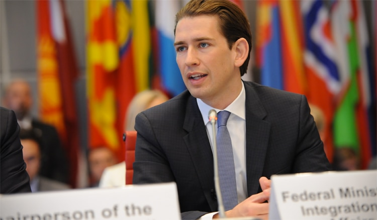 Sebastian Kurz, Minister of Foreign Affairs of Austria, speaking at a session of the OSCE Permanent Council, Vienna, 14 July 2016. (OSCE/Micky Kroell)