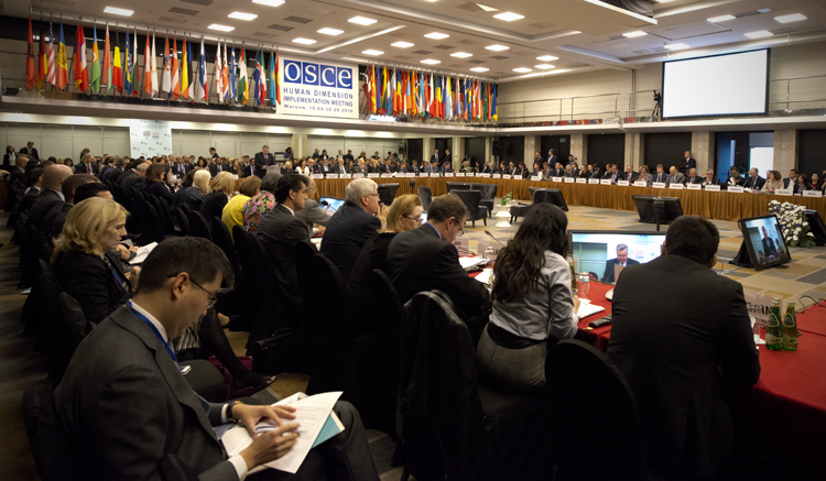 View from inside the opening session of the OSCE Human Dimension Implementation Meeting 2016, Sept. 19, 2016. (USOSCE/Colin Peters)