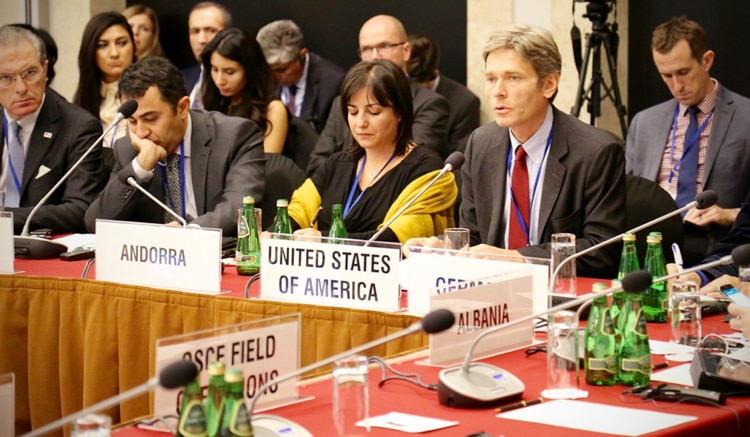 Assistant Secretary of State Tom Malinowski delivering remarks at the opening session of the OSCE Human Dimension Meeting 2016, Sept. 19, 2016. (USOSCE/Jonathan Lalley)