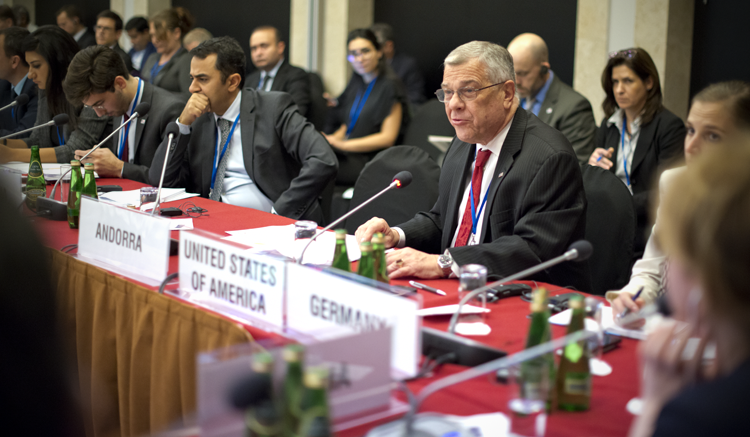 Ambassador Michael Kozak delivering a statement on behalf of the United States at the OSCE Human Dimension Implementation Meeting 2016, Warsaw, Poland, Sept. 21, 2016. (USOSCE/Colin Peters)