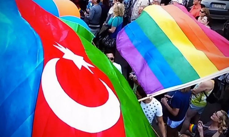 Azerbaijan LGBT activists at a Pride parade in Germany, 2015. (Wikimedia Creative Commons)