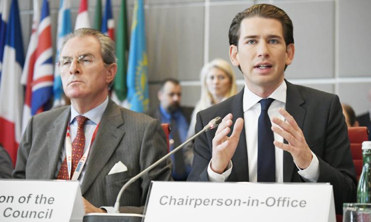 Министр иностранных дел Австрии и действующий председатель ОБСЕ Себастьян Курц на заседании Постоянного совета в Вене, 29 сентября 2017 года (USOSCE/Colin Peters)