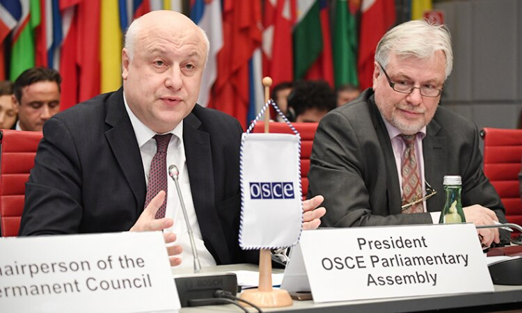 President of the OSCE Parliamentary Assembly George Tsereteli addressing the OSCE Permanent Council, Vienna, Austria, January 25, 2018. (USOSCE/Colin Peters)