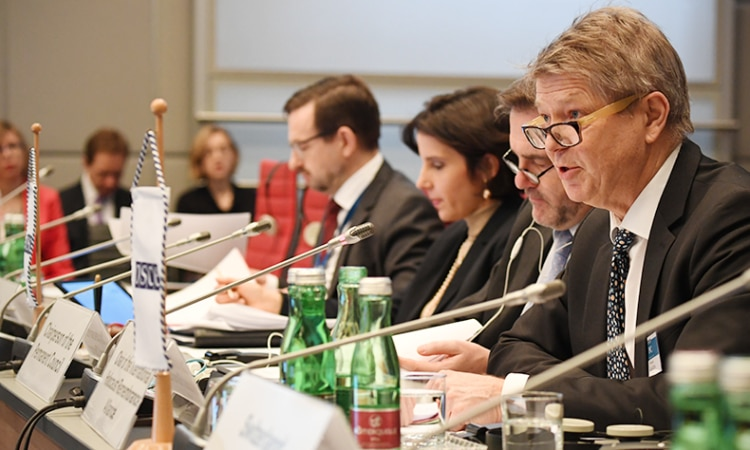 Dr. Michele Galizia of the International Holocaust Remembrance Alliance addressing OSCE delegations at the Permanent Council, Vienna, Austria, February 1, 2018. (USOSCE/Colin Peters)