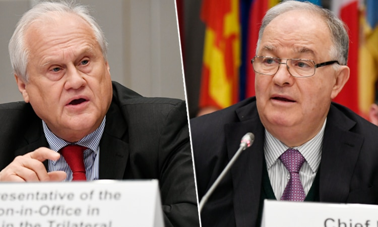 Right, the OSCE's Chief Monitor in Ukraine, Ambassador Ertugrul Apakan, and left, the Chairperson-in-Office's Special Representative, Ambassador Martin Sajdik. (USOSCE/Colin Peters)