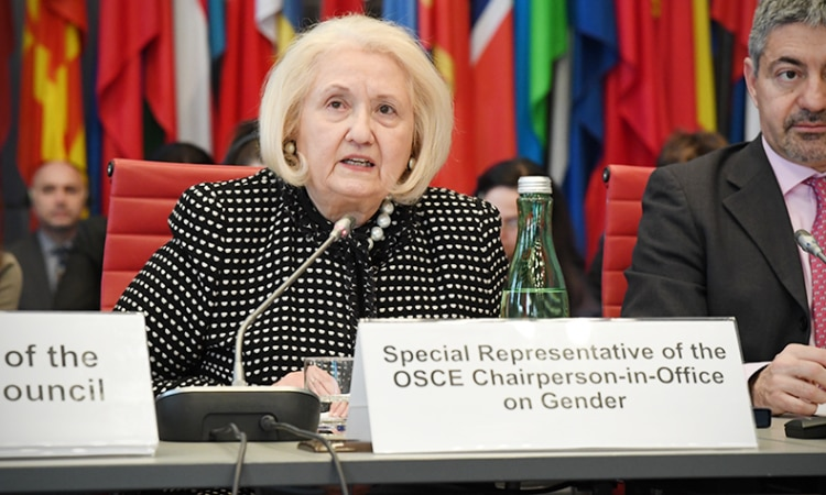 Melanne Verveer, Special Representative of the OSCE Chairmanship-in-Office on Gender Issues, speaking at the OSCE Permanent Council on the occasion of International Women's Day, March 8, 2018, Vienna, Austria. (USOSCE/Colin Peters)
