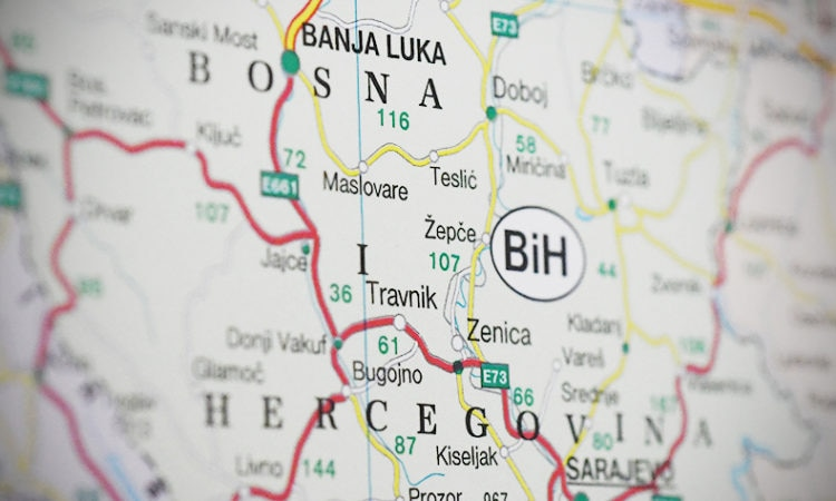 Close up of a section of Bosnia and Herzegovina on map. (USOSCE/Colin Peters)