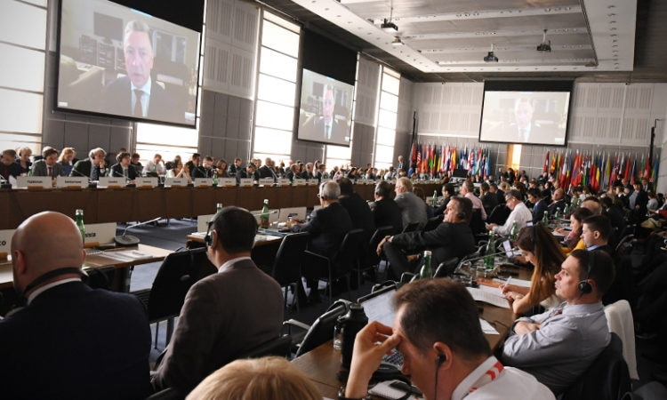 U.S. Special Representative for Ukraine Negotiations Kurt Volker addresses by live video a special session of the OSCE Annual Security Review Conference, Vienna, Austria, June 26, 2018. (USOSCE/Colin Peters)