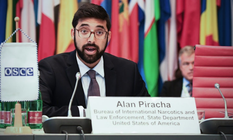 Alan Piracha of the U.S. State Department's Bureau of International Narcotics and Law Enforcement Affairs at an OSCE-wide conference on counternarcotics, July 16, 2018, Vienna, Austria. (USOSCE/Colin Peters)