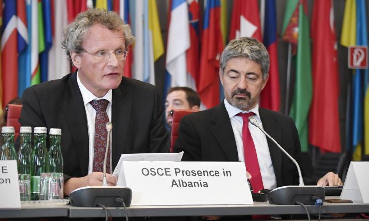 Ambassador Bernd Borchardt, head of the OSCE Presence in Albania, addressing the OSCE Permanent Council on Thursday, September 27, 2018, Vienna, Austria. (USOSCE/Colin Peters)
