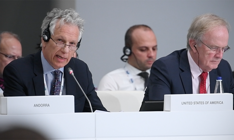 Acting Principal Deputy Assistant Secretary Bruce Turner delivering the United States closing statement at the 2018 meeting of the OSCE Ministerial Council, Milan, Italy, December 7, 2018. (USOSCE/Colin Peters)